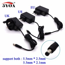 Power Adapter 100 240V AC to DC Supply Charger 5V 1A Plug 5.5mm x 2.5mm DC UK US EU Plug Switching for CCTV LED Strip Lamp etc