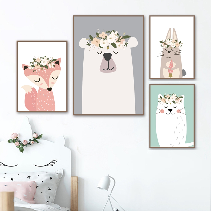 Us 2 66 20 Off Woodland Animals Nursery Art Prints Pastel Colors Baby Wall Decor Poster Kids Room Fox Bear Forest Canvas Painting In