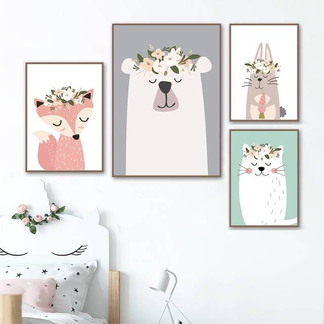 e6d73e8037fbe Woodland Animals Nursery Art Prints Pastel Colors Baby Girl Wall Decor  Poster kids Room Fox Bear Forest Art Canvas Painting