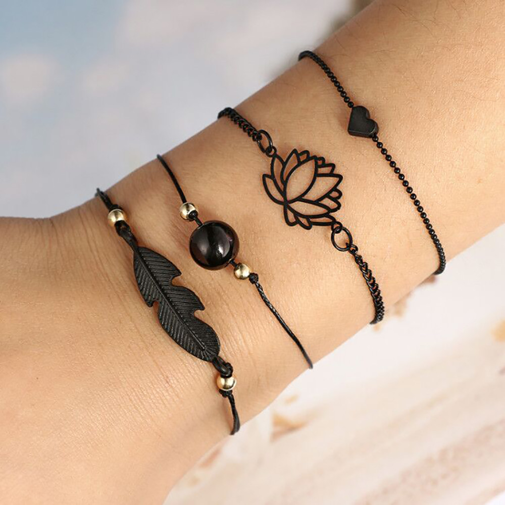 Fashion Bohemia Leaf Knot Hand Cuff Chain Charm Bracelet Black Love Heart Openwork Lotus Ball Leaves Bracelet 4pcs/Set bracelet