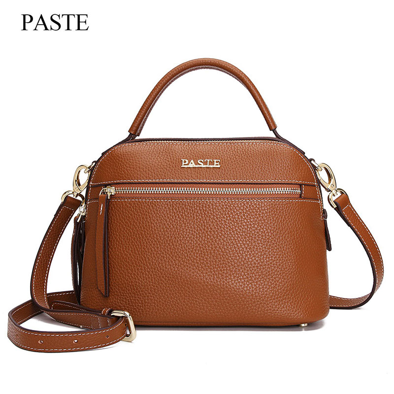 цены PASTE Genuine Leather Women Bag New Fashion First Layer Of Cowhide Crossbody Bag Handbag Shoulder Bag Casual Shell Bag 7P0817