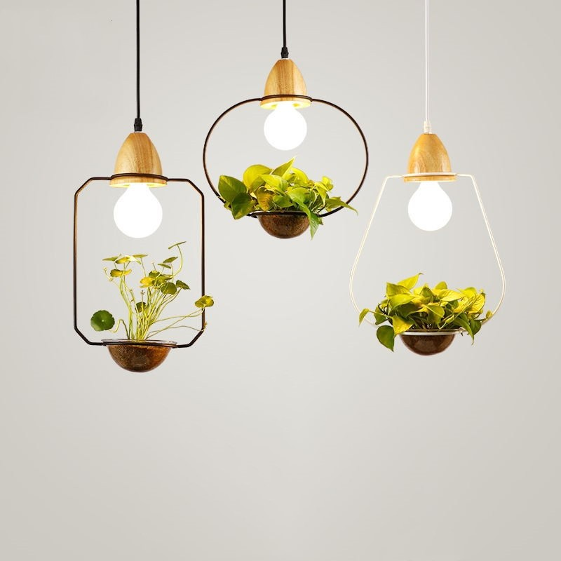 Modern Home Dinner Led Pendant Light Creative Potted Plant Balcony ...