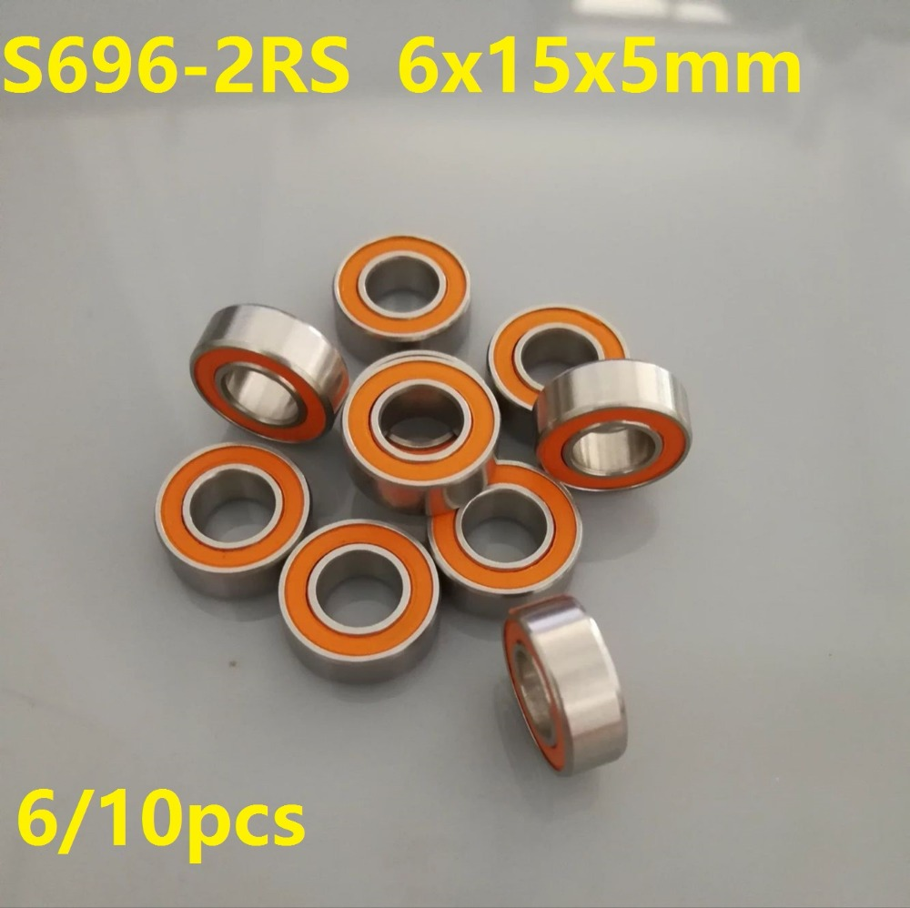 6pcs or 10pcs S696-2RS 6x15x5 mm ABEC-7 Stainless Steel hybrid Si3n4 ceramic bearing 696RS 696 2RS CB LD for fishing reel 6*15*5 6pcs 10pcs smr126 2rs smr126 2rs rs 6x12x4 mm abec 7 stainless steel hybrid si3n4 ceramic bearing fishing reel bearings 6 12 4