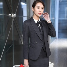 Formal Uniform Design Professional Business Suits With 3 pieces Jackets Skirt Vest Ladies Blazers Outfits Beauty