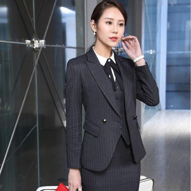 Uniforme Formal de Design Professional Business Suits Com 3 peças Casacos +  Saia + Colete Senhoras 546484b9a4863