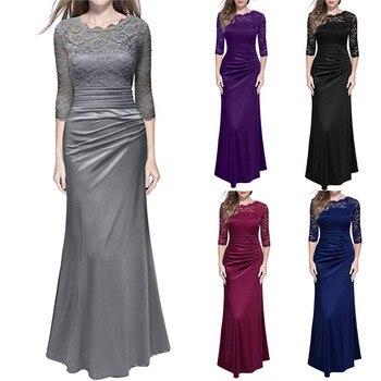 Robe femmes Robe Pinup Sexy élégant robes de soirée femmes rétro Floral formel dentelle Vintage 2/3 manches Slim mariage Maxi Robe