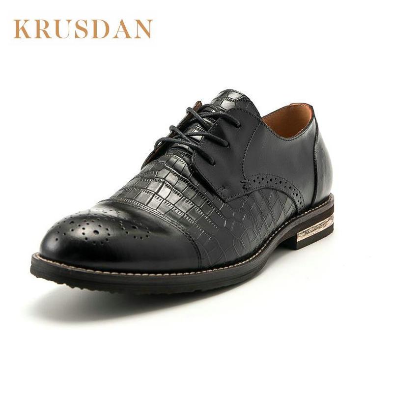 KRUSDAN Crocodile Pattern Genuine Leather Oxford Shoes Men s Luxury Brand Fashion lacing Flats Business Wedding