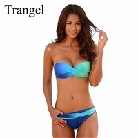Trangel Sexy Bikini 2017 Push Up Swimsuit Women Swimwear Bandeau Summer Bikinis Gradient Color Brazilian Bikini