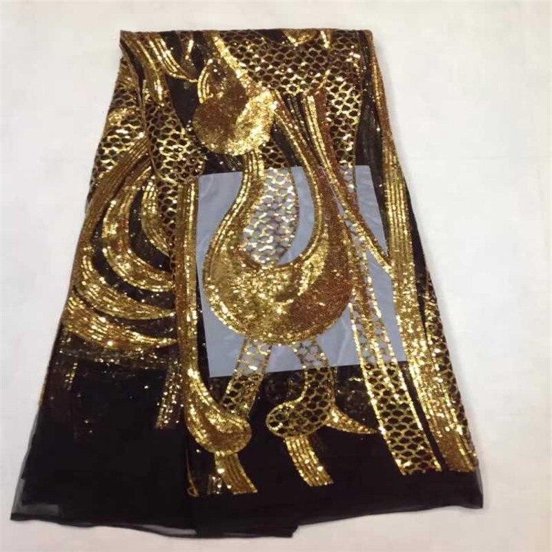 Último oro + negro africano tela de encaje francés de alta calidad - Artes, artesanía y costura