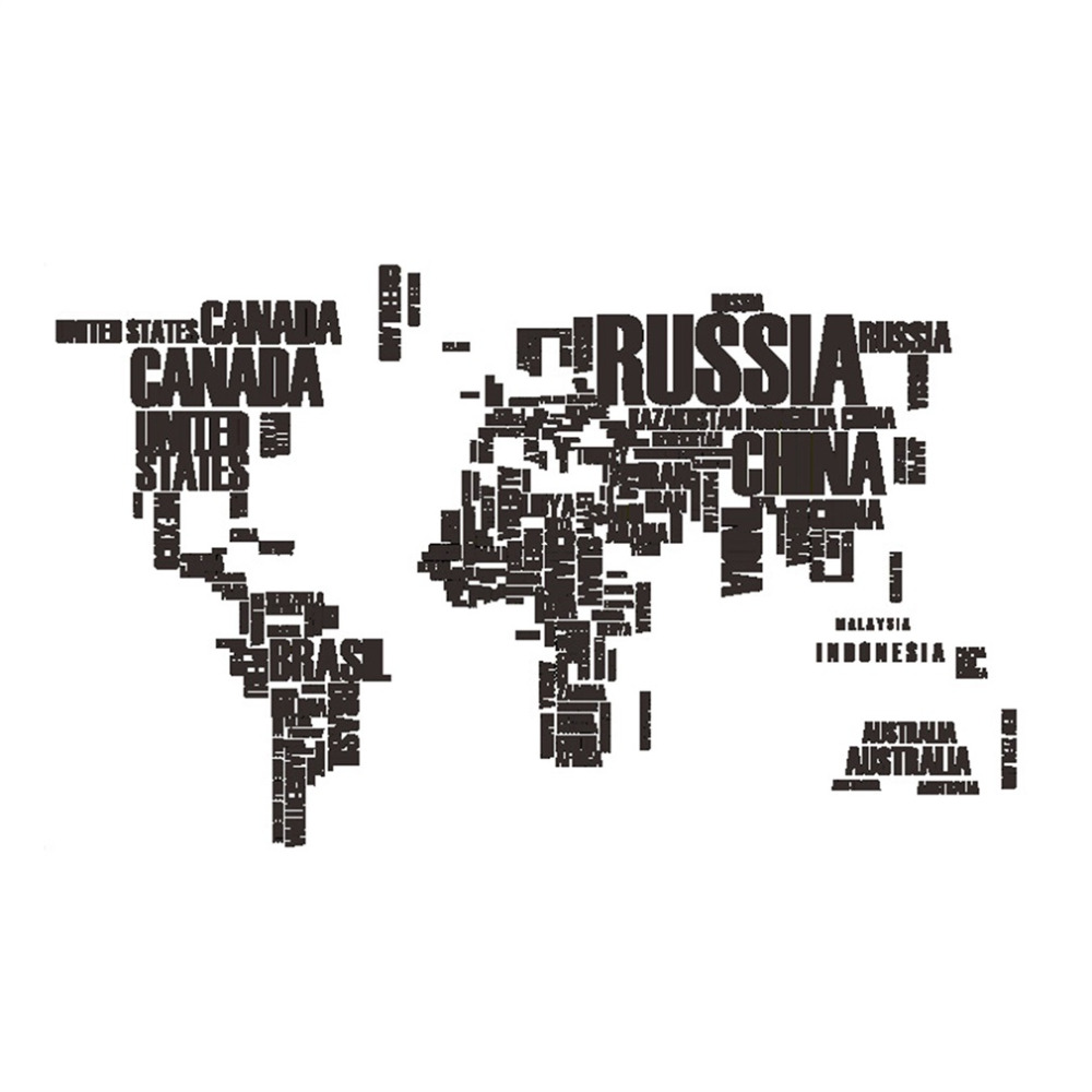 Practial Design Home Living Room PVC Wall Sticker Removable World Map Letter Printed Bedroom Art DIY Wall Decorative Stickers