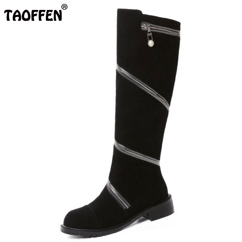 TAOFFEN Size 34-43 Women Genuine Leather Knee Boots Thick Fur Zipper Flats Boots For Cold Winter Shoes Warm Fur Women Footwears taoffen women genuine leather flats snow boots women metal buckle mid calf boots warm fur shoes for women footwears size 34 39
