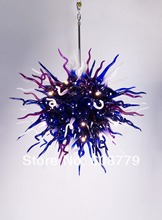 Blue Contemporary Mini Hand Blown Glass Chandelier