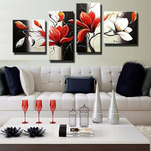 Handmade 4 Piece Abstract Living Room Wall Art Modern red Flower Decorative Group Painting Oil Canvas Sale For Home 4p4