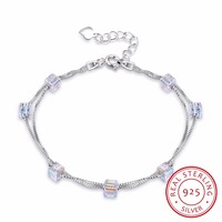 Lekani Square Crystals From Swarovski 925 Silver Double Chain Link Bracelet Bangles Beads Accessories For Women Fine Jewelry
