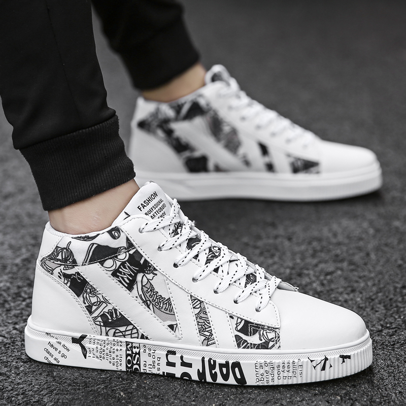 Graffiti Canvas Men Casual Shoes Breathable Male Shoes Tenis Masculino Adulto Shoes Outdoor Shoes Lovers Sneakers Men Unisex 45Mens Casual Shoes   -