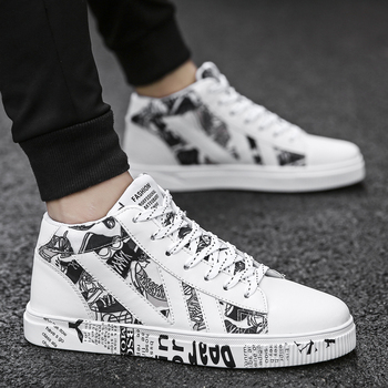 Graffiti Canvas Men Casual Shoes Breathable Male Tenis Masculino Adulto Outdoor Lovers Sneakers Unisex 45