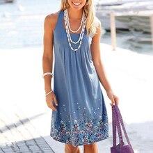 MSAISS 2017 Summer Flower Printing Dresses Women O-Neck Casual sleeveles Vestidos Summer Soft Comfortable Drawings Beach Dress