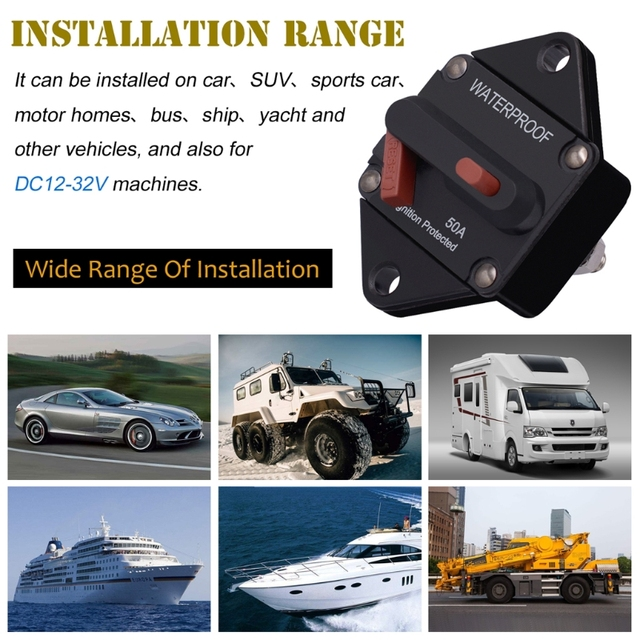 50/100/150A E96 Car Circuit Breaker Manual Reset Ignition Protected on