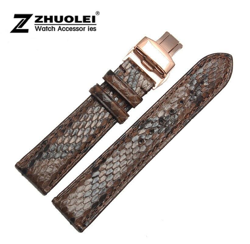 Bracelet de montre 18mm 20mm 22mm noir marron véritable peau de Python montre en cuir bracelet Bracelets or Rose montre en acier boucle pour ar
