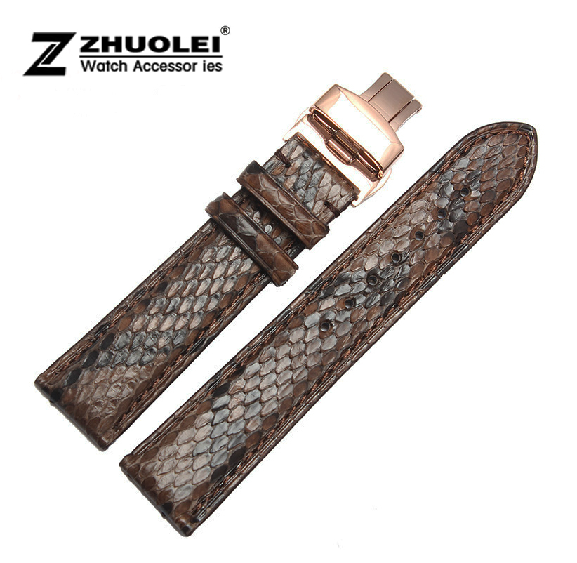 Watch band 18mm 20mm 22mm Black  Brown Genuine Python Skin Leather Watch Strap Bracelets Rose Gold Steel Watch Buckle for ar watch band 20mm 21mm 22mm brown genuine leather strap deployment steel watch buckle wrist watch band watch strap bracelets