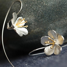 YKNRBPH S925 Sterling Silver Flower Long Drop Earrings For Women Thai Process Elegant Girls silver Fine jewelry