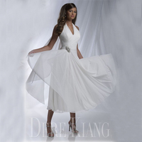 Sexy Halter Beach Wedding Dresses 2016 Chiffon A Line Summer Style Pleated Vestido De Noiva Tea