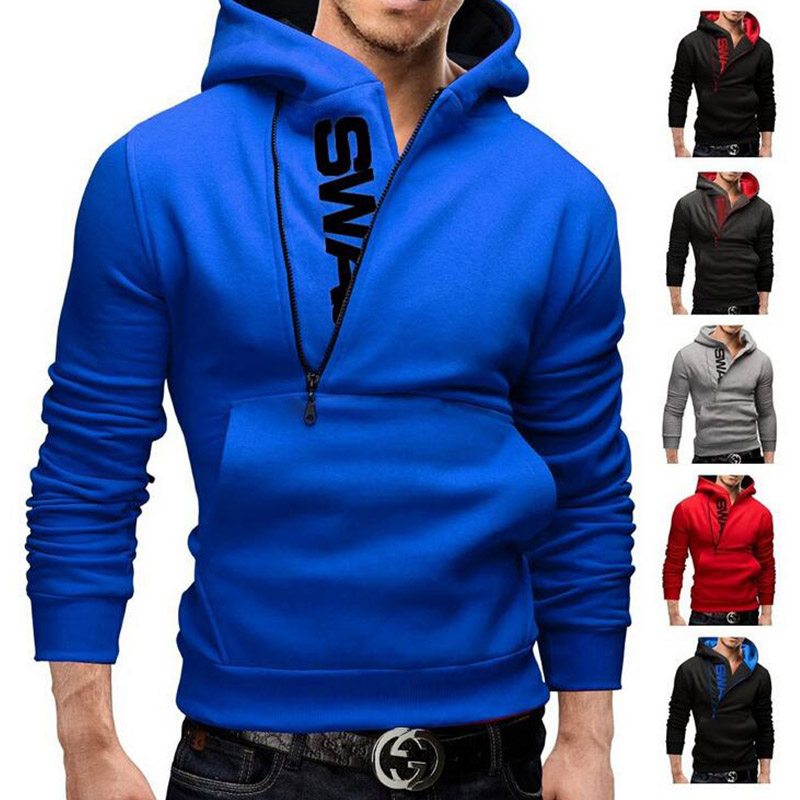 Oversized Men Hooded Sweatshirt Raglan Sleeve Tops Casual Slim Fit Zipper Printed Letter Male Hoodie Coat Streetwear 2019 Spring