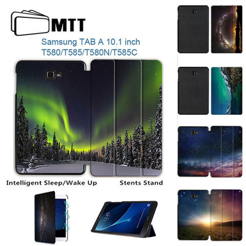 MTT Slim Smart Flip PU Aurora Meteor Cover For Samsung Galaxy Tab A A6 10.1 2016 T580 T585 T580N SM-T580 Case Tablet Stand Funda fashion pu leather flip case for samsung galaxy tab a a6 10 1 2016 t580 t585 sm t580 smart case cover funda tablet sleep wake up
