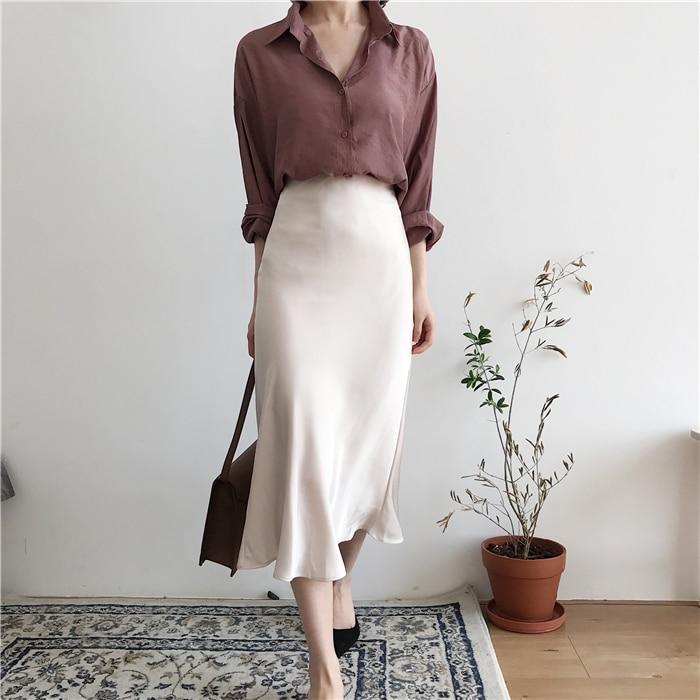 summer elegant high waist women long skirt solid A-line faldas mujer female solid slim jupe femme saia longa 11