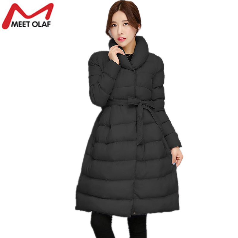 2017 Women's Winter Down Jackets Fashion Skirt Style Solid Female Casual Coats Cotton Padded Parka abrigos mujer invierno YL799 2017 new hooded women winter coats female winter down jackets cotton padded parkas autumn outwear abrigos mujer invierno y1488