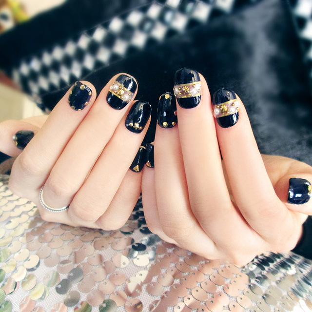 Top quality 24pcs Japanese style black resin Nail Art False Fake ...