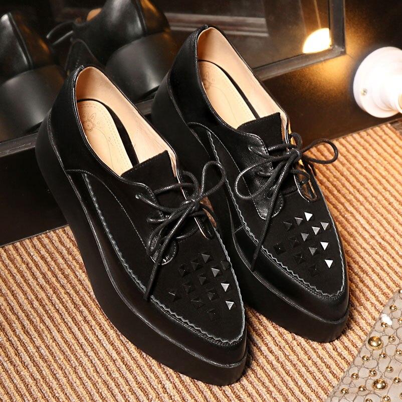 ФОТО Platform Shoes Woman 2016 Creeper Shoes Genuine Leather Women Famous Fashion Women Creepers Luxury Platform Famous For Woman