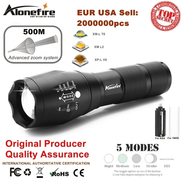 AloneFire E17 XM-L T6 5000LM Aluminum Waterproof Zoomable CREE LED Flashlight Torch light for 18650 Rechargeable Battery or AAA