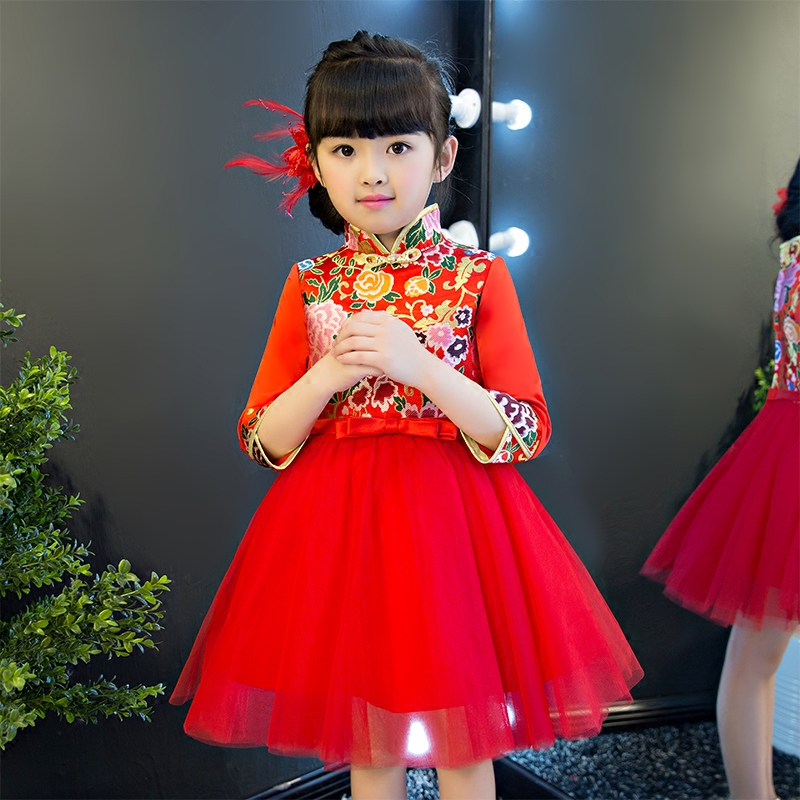 2017 New Arrival Chinese Traditional Red Color Cheongsam Qipao Dress For Girls Children Party Birthday Performance Clothes dress coat traditional chinese style qipao full sleeve cheongsam costume party dress quilted princess dress cotton kids clothing