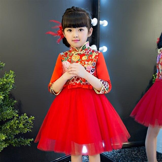 2019 nueva llegada chino tradicional Color rojo Cheongsam Qipao vestido  para niñas niños fiesta de cumpleaños c730c3bc456
