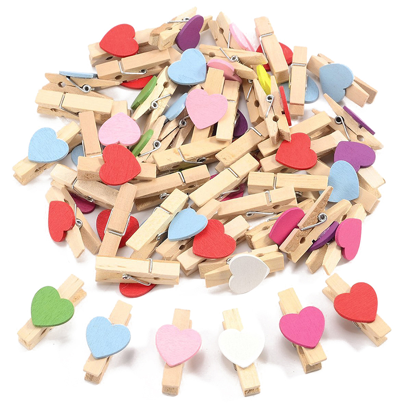 100 Mini Wooden Love Heart Pegs Photo Paper Clip Wedding Decor Craft (Mixed)