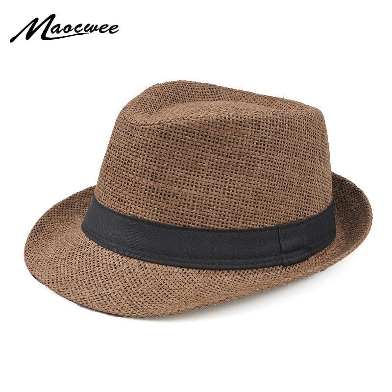Fashion Style Jazz Cap Panama Sun Hat Leisure Men Beach Hat Summer Fashion Straw Bucket Hat For Jazz Fedora Visor Cap