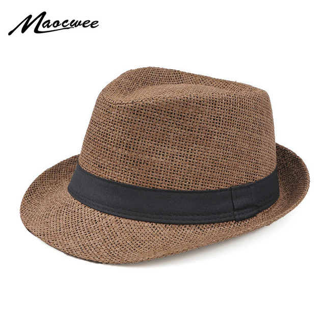 33244003aa60d Fashion Style Jazz Cap Panama Sun Hat Leisure Men Beach Hat Summer Fashion  Straw Bucket Hat