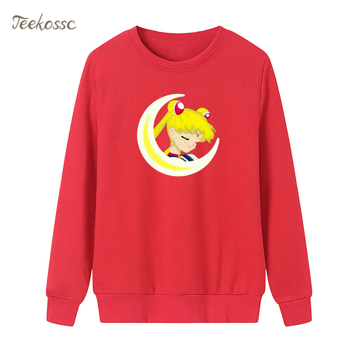 Cartoon Sailor Moon Sweatshirt Print Sailor Moon Hoodie 2018 Winter Autumn Women Lasdies Pullover Loose Fleece Kawaii Streetwear