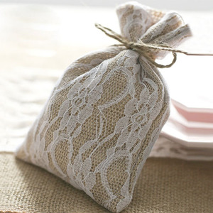 """Image 3 - Laço hessian presente cordão bolsa 10x15cm(4 """"x 6"""") pacote de 50 sacos de embalagem de serapilheira saco"""