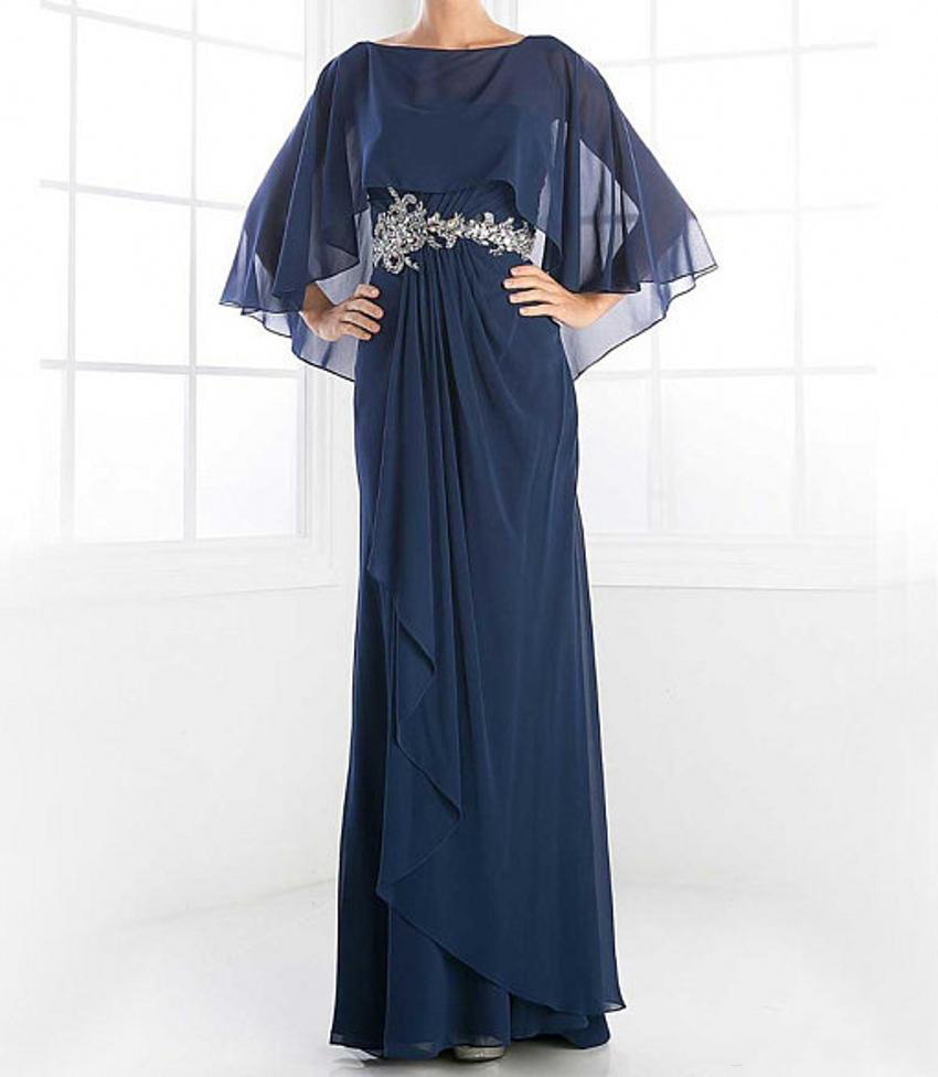 2019 Navy Blue Elegant Chiffon With Empire Waist Mother Of The Bride Dress Long Plus Size Robe Mere De La Mariee in Mother of the Bride Dresses from Weddings Events