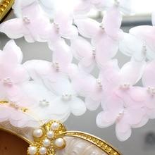 10pcs 3.5*4cm Pink White 3D Handmade Lace Patch Flowers Pearl new Wedding Dress Hair Veil Bag DIY Materials Clothing Decor цена