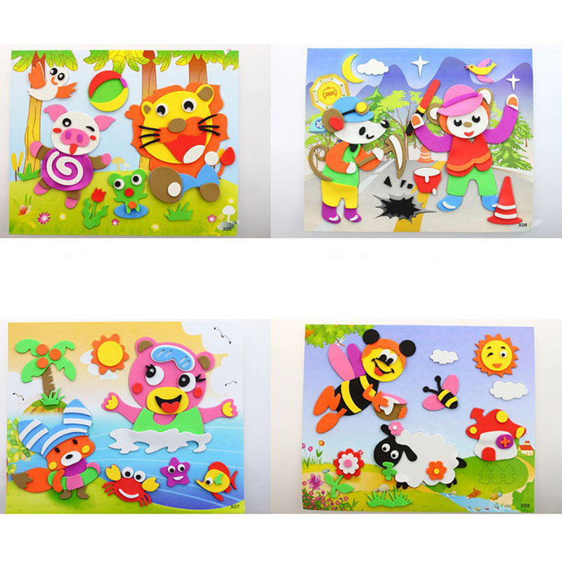1Pcs DIY Handmade Mix Color Educational 3D Eva Foam Sticker Puzzle Toys Crafts Gifts For Children Baby Random Send