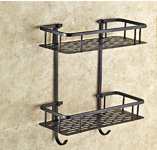 ФОТО New Arrivals Antique Black Oil Square Soap Holder Dual Tier bathroom shelves bathroom shampoo holder basket bathroom holder