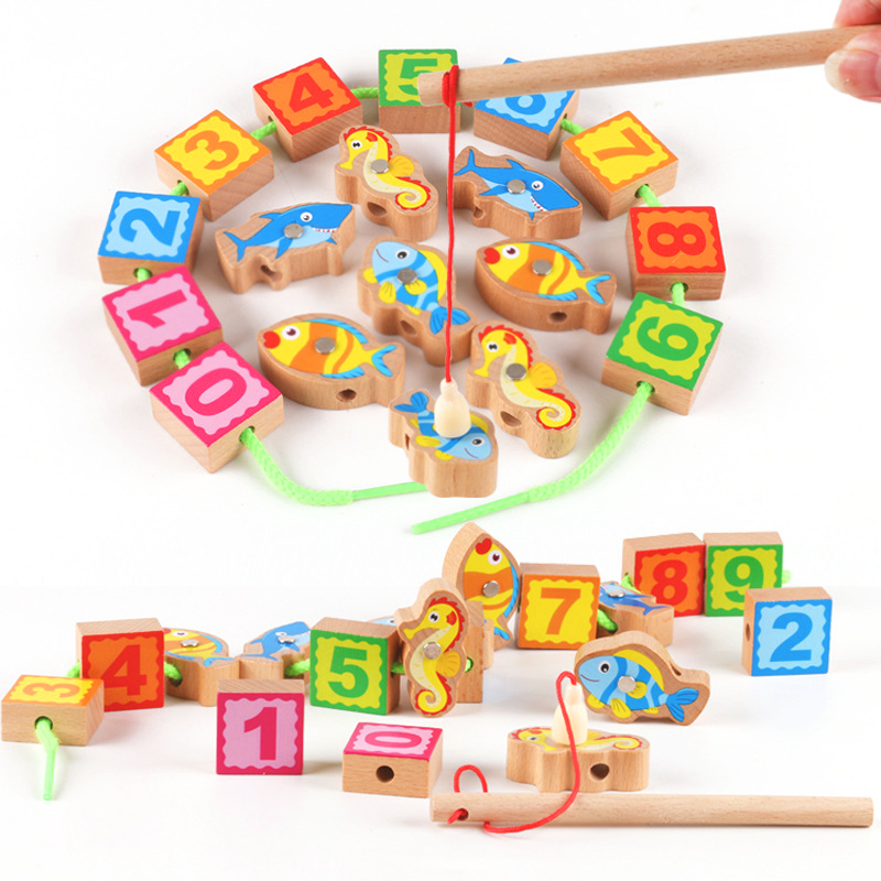 Children's Toys Wooden Fishing Beaded Numbers Game Wearing ...