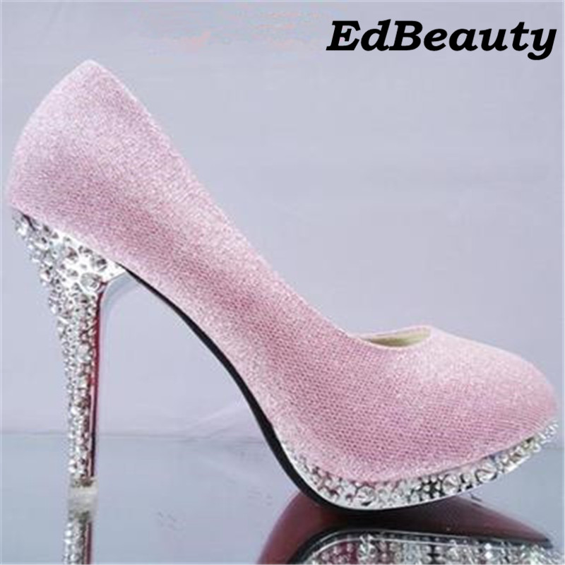 2017 Cinderella glass slipper with money pointed high-heeled leather fine with rhinestone sequins glass bridesmaid wedding shoes