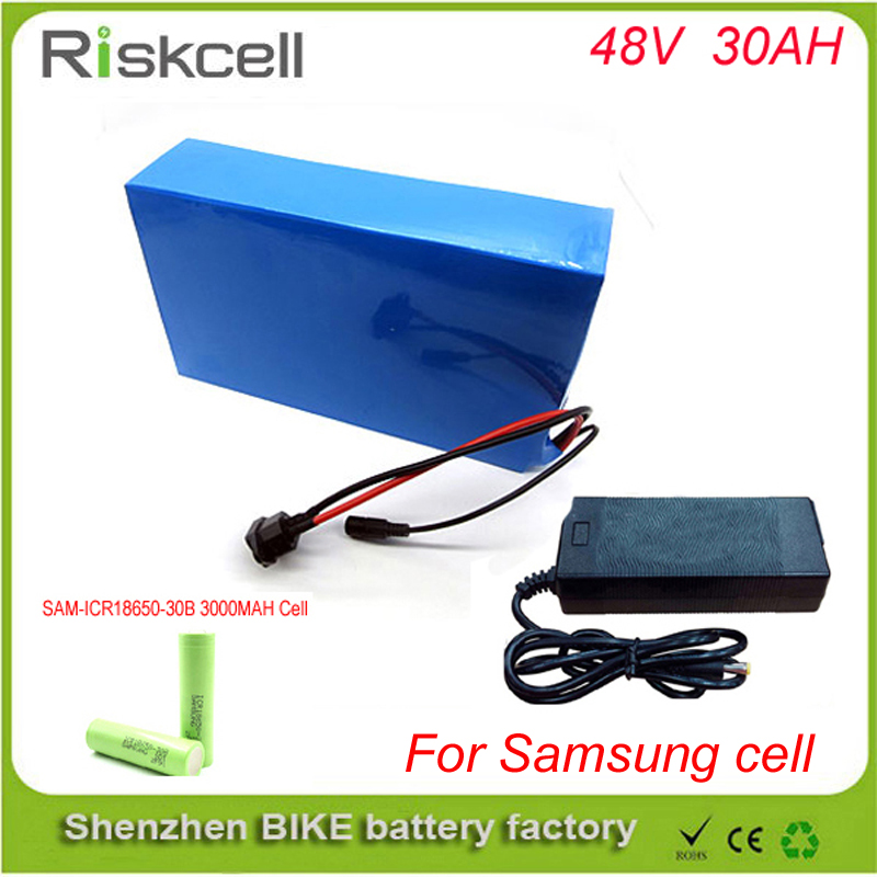 48V Ebike Battery 48v 30Ah 1000W Electric Bike Battery with 2A Charger,BMS Lithium Battery 48V Battery Pack   For Samsung cell free customs taxes super power 1000w 48v li ion battery pack with 30a bms 48v 15ah lithium battery pack for panasonic cell