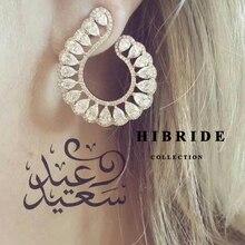 HIBRIDE Clear Brazil Style Women Stud Earrings Cubic Zircon Plant Wedding Earring Brincos Fashion Jewelry E-451