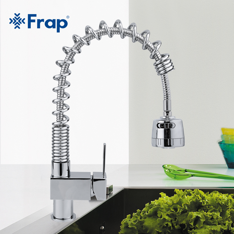 Frap Pull Down Kitchen Faucet Wholesale Solid Brass Swivel Pull Out Spray Gooseneck Sink Mixer Tap Single Handle F1052-3 free shipping 360 swivel 100% solid brass single handle mixer sink tap pull out down kitchen faucet white and chrome color kf771
