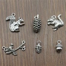 10pcs/lot Antique Silver Color Squirrel Charm Pendants Jewelry Accessories Squirrel Pine Cone Charms Acorn Charms(China)